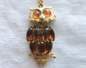 RESERVED for DRRDIETZ Vintage Owl Necklace Pendant Gold Tone with Amber Faux Stones 1970s Retro Groovy Costume Jewelry