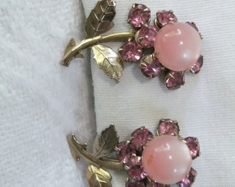 Vintage Earrings Screw Back Pink Rhinestone Flower Goldtone Retro Costume Jewelry