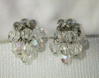 Vintage Earrings Clip On Clear Iridescent Bead Silver Tone Retro Costume Jewelry