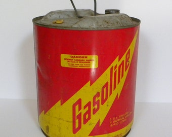 Vintage Industrial Metal Gas Can -- Midwest Can Co. 5 Gallon Gasoline Can Made in USA Red and Yellow Graphics