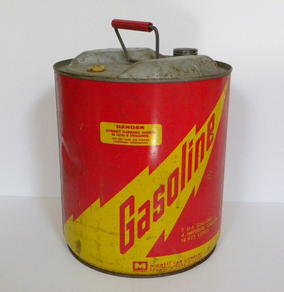 Vintage Industrial Metal Gas Can Midwest Can Co. 5 Gallon