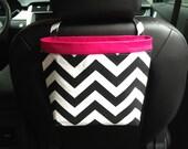 Headrest CAR CADDY Chevron Black and White, Women, Car Litter Bag, Auto Accessories, Auto Bag, Car Organizer, Car Caddy