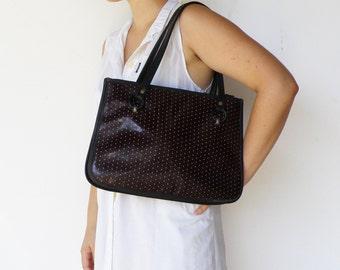 Vintage 1960s Dark Chocolate Large Bag / Polka Dot 60s Tote / Faux Leather