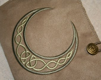 Celtic Moon Embroidered Book Cover