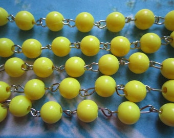 1pcs 20 inch 8mm yellow resin beads/ball necklace chain--matte links