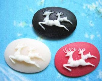 10pcs 25x18mm Elk oval resin cabochon/cameos/cabs--3 colors for ur choose(black,red,light pink)