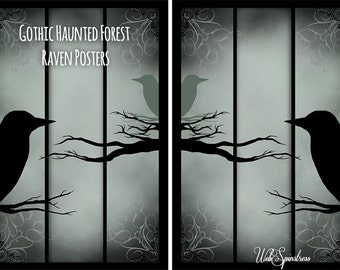 Gothic Haunted Forest Raven Posters
