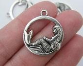 6 Mermaid pendants  antique silver tone SC23