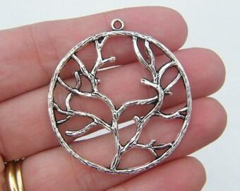 4 Tree pendants antique silver tone T11