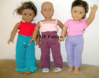 American Girl Doll  PDF Knit  Pattern Pants Wardrobe Ski pants, trimmed pants and leggings