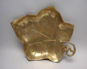 Vintage Brass Leaf Tray