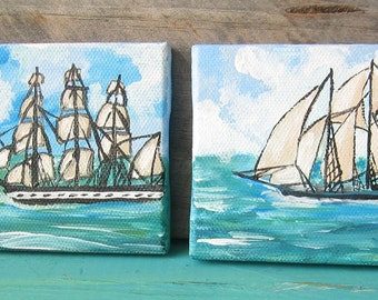 Nautical Miniature Hand Painted Sail Boat Paintings- Set of Two