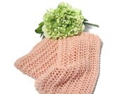 Peachy Pink Scarf, Knit Scarf, Hand Knit Scarf, Lacy Scarf, Fiber Art, Gift for Her, Women Scarf, Fashion Scarf