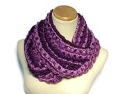 Radiant Orchid Infinity Scarf, Chunky Cowl, Knit Infinity Scarf,