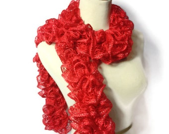 Sale, Ruffle Scarf, Knit Scarf, Fashion Scarf, Women's Scarf, Hand Knit, Red Scarf, Spring Scarf, Mother's Day, Gift For Her