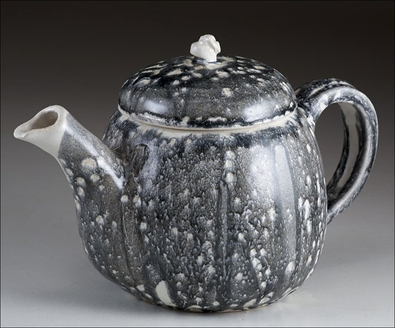 Black And White Decorative Handmade Ceramic Teapot Original