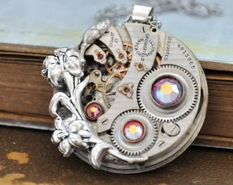 steampunk jewelry, steampunk necklace, statement piece, LOVE TAKES TIME, 17 jeweled  Illinois pocket watch movement necklace