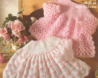 Baby Knitting Pattern -  Angel Tops/Dresses - Two styles 18- 21 inch 4 ply