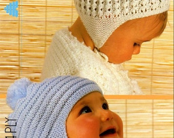 Reduced Baby Knitting Pattern  - Bonnet and Helmet in 4 sizes Newborn to 10 years 3072