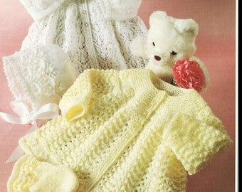 BABY KNITTING PATTERN -  Matinee Jackets, Bonnets and Mitts  - 2 styles 16 to 20 inches