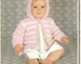 Baby KNITTING PATTERN PDF - Hooded Jacket/Coat 19 to 21 inches