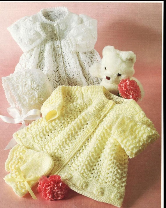 Knitting Patterns For Babies Matinee Coats : BABY KNITTING PATTERN Matinee Jackets Bonnets and Mitts