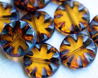 18mm Czech Glass Coins - Amber Carved Coin Beads - Picasso Coin Beads - Bead Soup Beads