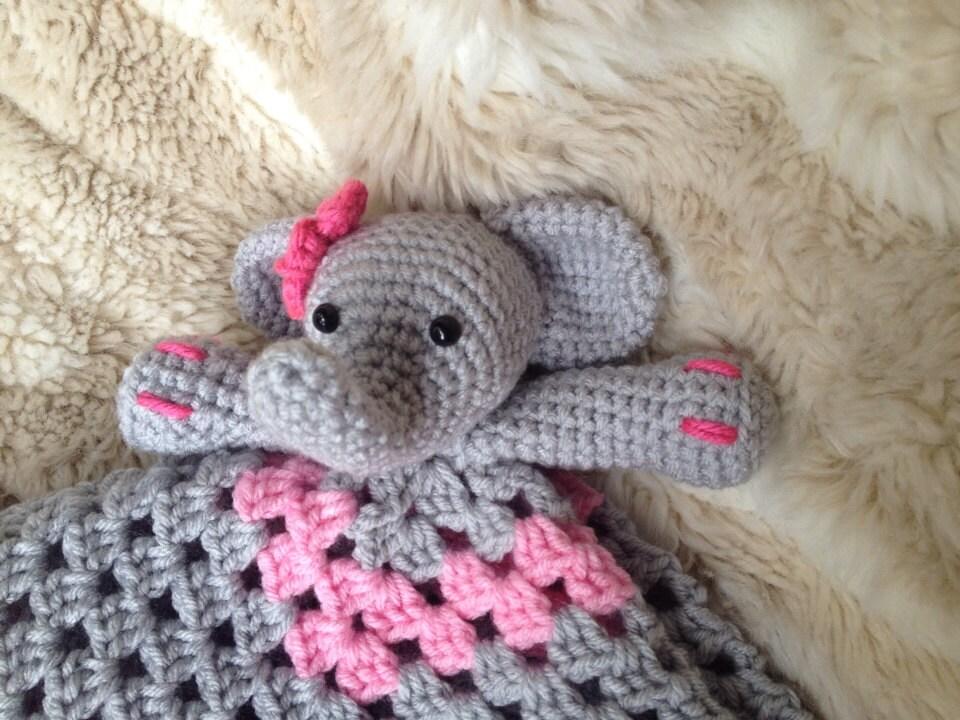 Amigurumi Elephant Blanket : Crochet Elephant Lovey Security Blanket by ...
