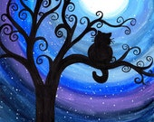 Midnight Cat - Original watercolour painting - cat silhouette in swirly tree by moonlight