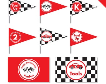 Race Car Party - Personalized DIY printable straw flags and napkin rings