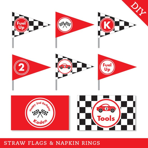 race car party personalized diy printable straw flags and, Powerpoint templates