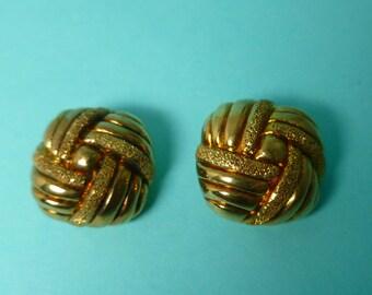 Sterling Vermeil Square Basketweave Clip On Earrings