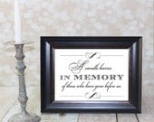 A candle burns In Memory of those who have gone before us.  4x6, 5x7 or 8x10 Instant Download. In Loving Memory Wedding Card DIY Printable