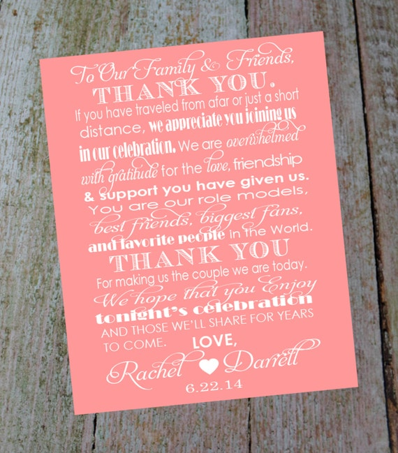 custom wedding thank you card with bride and grooms name date