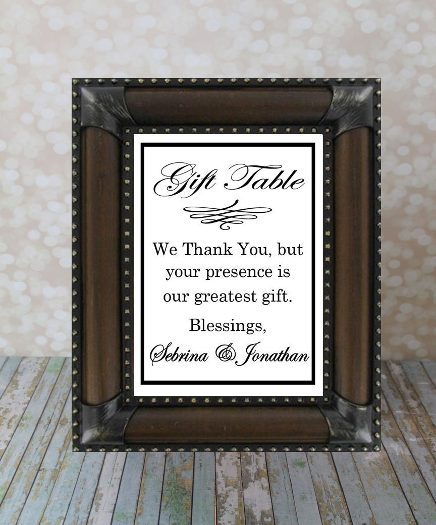 Gift Table At Wedding Reception: Wedding Gift Sign Reception Table Sign Thank By