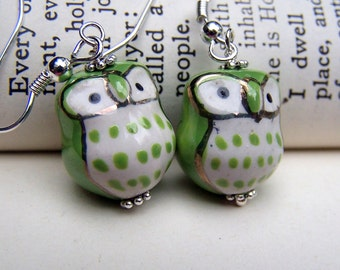 Peridot Owl Earrings Owl Jewelry Cute Little Owls Girls Jewelry