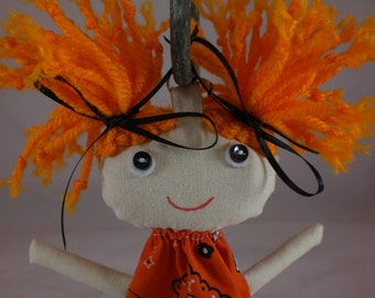 FREE SHIPPING Oklahoma State Backpack Buddy, Rag Doll, various skin tone and a mop of orange hair,Cloth Doll,Plush Toy,Soft Doll,Fabric Doll