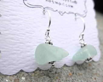 Stunning Light Aqua Chunk Earrings Lake Erie Beach Glass