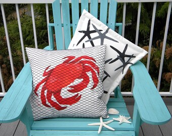 "Outdoor pillow NETTED DUNGENESS crab 20"" painted Pacific west coast claw seashore sea life crabbing crustacean Crabby Chris Original"
