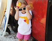 Girls I Heart Florida Shirt Florida Home State Shirt in Yellow and Pink