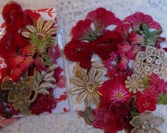 Red Venise Lace, Christmas Lace,  Hand Dyed Lave, Vintage Cream Gold Glitter Lace,  Crazy Quilt Lace, Lace Embellishment, Lace Applique Kit