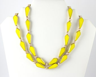 Yellow, Gold and Pearls, Vintage, Art Deco Necklace