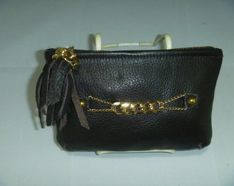 Clutch chocolate Brown pebble leather purse heavy gold metal chain design and tassel