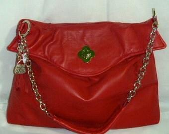 Red Italian calfskin leather large satchel bag.
