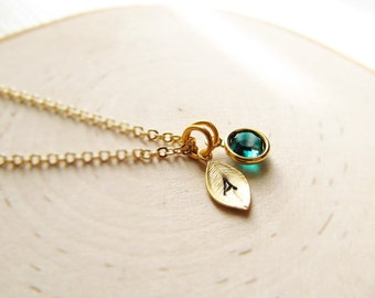 Graduation Gift, Initial Birthstone Necklace, Gold Birthstone Necklace, Personalized Necklace, Gold Personalized Jewelry, Graduate Necklace