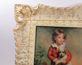 Victorian Style Framed Print of Boy with Dog, Picture by Bremont