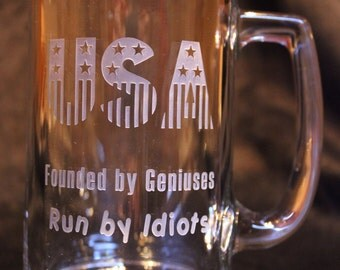 State of the Union Engraved Glass Mug. Birthdays, Gifts, etc.
