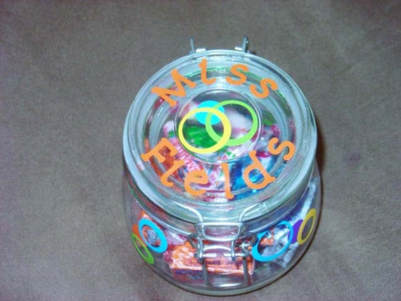 Personalized teacher gift glass candy jar with circles and flip top lid