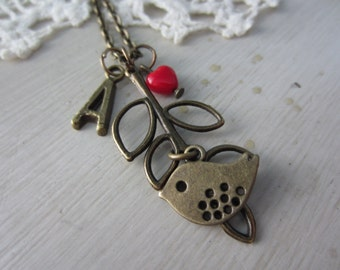 Personalized Bird and Leaves Necklace