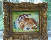 Miniature Acrylic Rabbit Painting by Maure Bausch